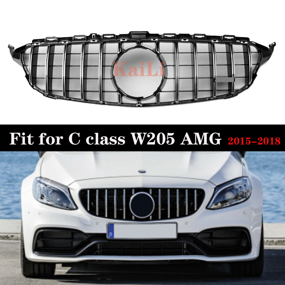 Chrome GT Silver Racing Grills For Mercedes Benz C Class W205 c200 c250 c300 2015-2018 Grille Without Camera image