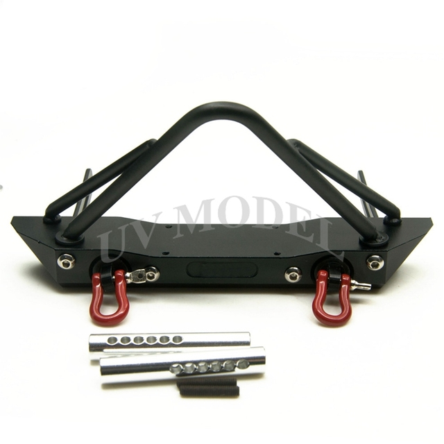 High Quality RC 1/10 Scale SCX10 Steel Front Bumper Bull Bar w/ Shackles For Axial SCX10  RC Crawler RC4WD II D90
