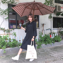 Autumn New Collection Korean Style Long Polo Collar Dress Student Preppy Style Slit Women Dress Slimming Black Long Dress
