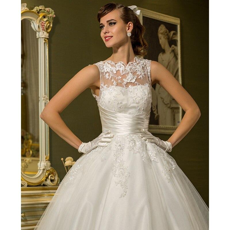 LAN Ting невесты принцесса Иллюзия декольте голеностопного Длина Свадебное платье из фатина с аппликациями Sash ленты и пуговицы