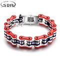 Fashion Stainless Steel Bike Bracelet Men Biker Bicycle Motorcycle Chain Bracelets Bangles  Blue red Jewelry YM091