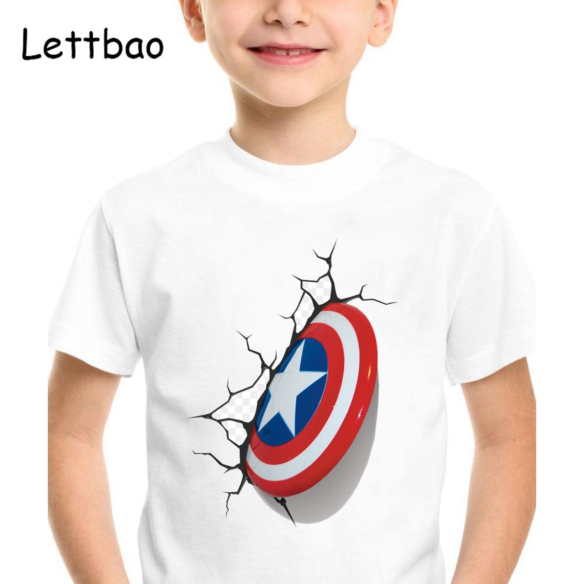 2019 Summer Marvel T-shirt Kids Boy Clothing Avengers Boys T Shirt Clothes Captain America Superhero 3D Printed T Shirt Clothing