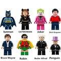 8 unids/set PG8009 Bloques de Construcción Super Heroes Batman Bruce Wayne Dick Grayson Robin Joker Catwoman Alfred Pingüino Juguetes Lepin