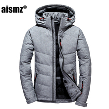 Aismz 2018 Winter Men's Coat New Leisure Youth Men's Thick Slim Down Jackets Autumn  Warm Plus Size 3XL Male Gray Basic Outwear