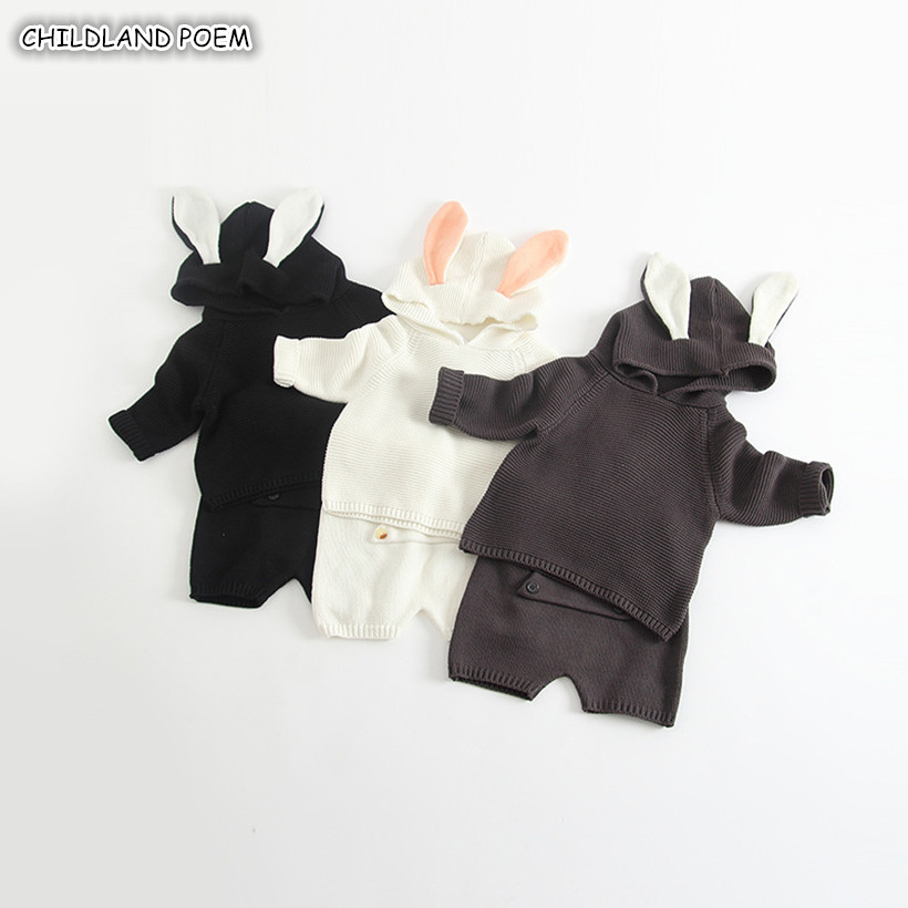 Knitting Baby Clothes Autumn Newborn Baby Knitted Clothing Set Bunny Boys Girls Sweater + Pant Woolen Infant Toddler Clothes Set 2017 new brand newborn toddler infant baby boys girls fashion striped hoodies autumn warm clothes 2pcs sweater suit