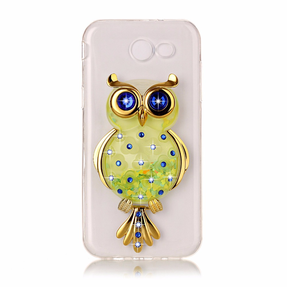 For Samsung J5 J7 Prime J5 J7 2016 case DIY OWL Dynamic Liquid Glitter Quicksand back cover for Galaxy J5 J7 2017 soft TPU case