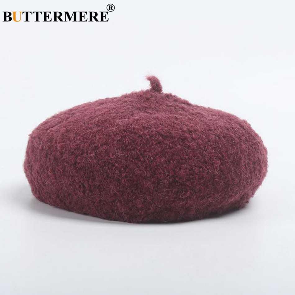 BUTTERMERE шерстяные береты женская шляпа черные элегантные плоские шапки женские мягкие однотонные Теплые Французский Берет шерстяные осенне-зимние шапки