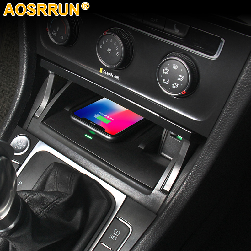 For Volkswagen VW Golf 7 MK7 Car Accessories Mobile Phone 10W QI Wireless Charger Phone Adapter Fast Charging Holder