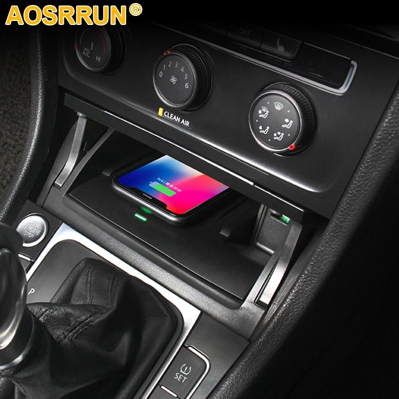 Для Volkswagen VW Golf 7 MK7 автомобильные аксессуары мобильный телефон 10 Вт QI Беспроводное зарядное устройство адаптер для телефона держатель для бы...