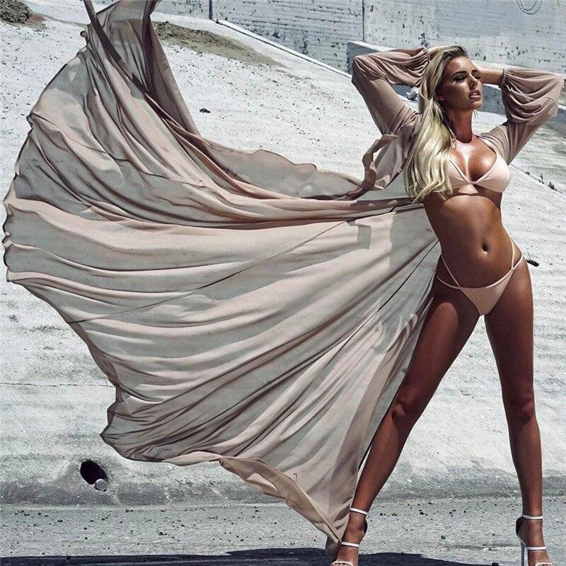 Пляж прикрыть сексуальный халат Plage прозрачная Пляжное длинное платье Парео Для женщин Пляжная туника саронг ванный комплект бикини Cover Up ...