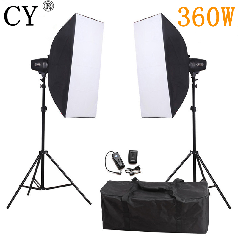 CY Photography Soft Box Flash Lighting Kit 360w Storbe Flash+Softbox+Stand+Trigger Receiver Photo Studio Set Godox K-180A