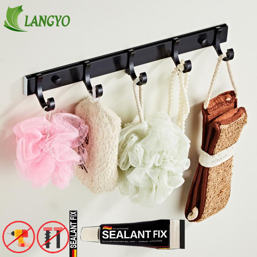 Robe Hooks Luxury Bathroom Wall black Rural/Europe 5 Row Hook Coat Hanger Door For Accessories