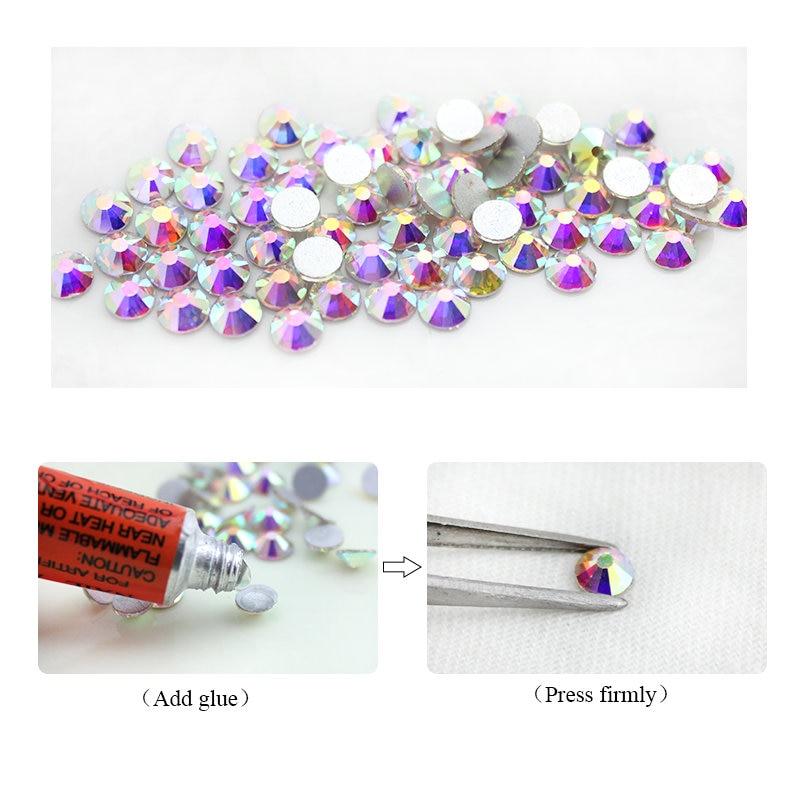 QIAO Glitter Rhinestones Crystal AB SS3-SS40 Non Hot Fix FlatBack - Konst, hantverk och sömnad - Foto 3