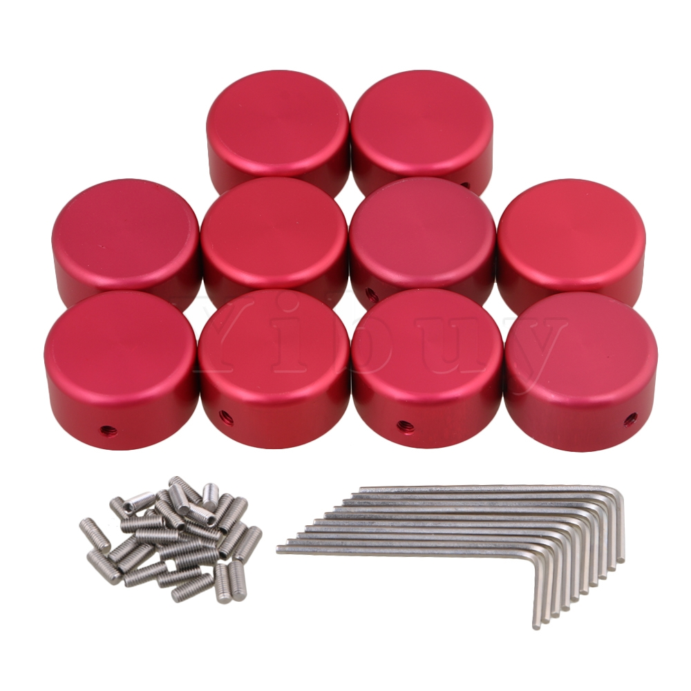 Yibuy 10 Pieces Red Guitar Effects Parts Stomp Switch Pedal Box Foot Knobs