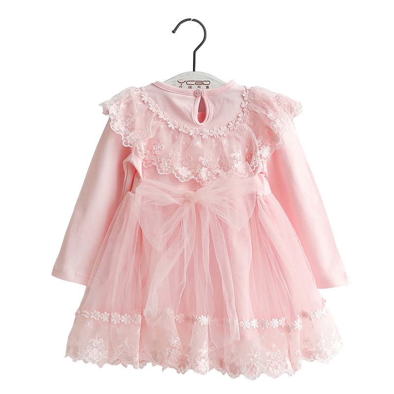 Baby Girls Dress 2017 New Spring Autumn Princess Dresses Kids Clothes Bow Lace Design Cotton Baby Girls Party Dress 1-3Y DQ574  fashion 2017 spring autumn new girls cotton knitting dress hat 2 piece thickening baby girl princess dress winter kids clothes