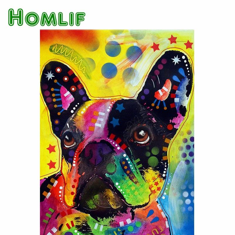 HOMLIF full diamond embroidery bead patterns square bulldog diamond painting puzzle color dog Needlework 3d diamond picture home