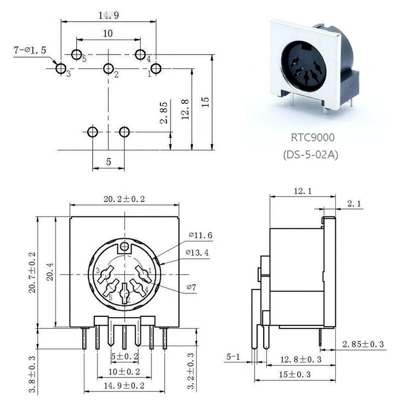 ángulo SYS 240 ° con 90 ° Mawi 5100 conector DIN masculino pin 5 alin