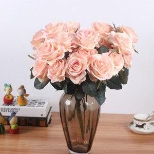 Image 2 - Yapay ipek 1 demet fransız gül çiçek buketi sahte çiçek yerleşim tablosu papatya düğün çiçekler dekor parti aksesuarı Flores