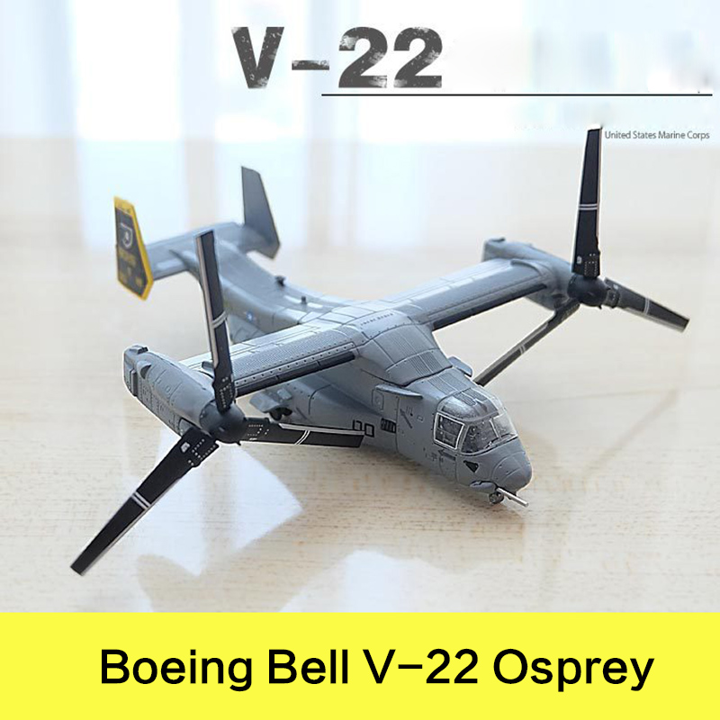 Prenoy Military Alloy Airplane Model Boeing Bell V22 Osprey US Carrier Armd Helicopter Diecast Scale Model Toy Stand Craft 1:144 fov print 84208 us apache longbow helicopter gunships 1 48 alloy model fm