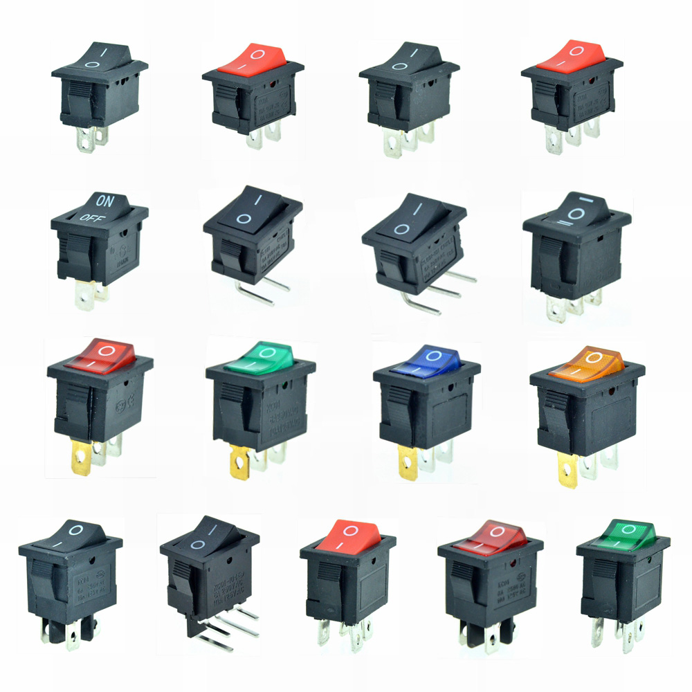 2Pin 3Pin SPST SPDT Car Rocker Boat Switch ON/OFF ON/ON 2 Positions Red Blue Black Green 12V 6A/10A 250V/125VAC 19x13mm Mount kcd1 on off 4pin boat car rocker switch 6a 10a 250v 125v ac red yellow green blue button best price