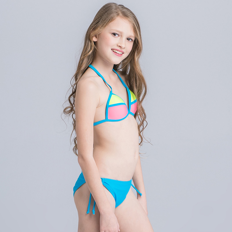 2ac577a1f04b7 Patchwork Swimsuit for Girls Two Piece Children Swimwear 2017 Candy  Colorful Kids Bikini for 3 16 Years Child Bathing Suit Beach-in Children s  Two-Piece ...