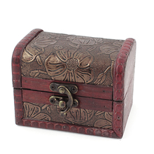 Retro Vintage Style Flower Pattern Burgundy Wood Trinket Storage Jewelry Gift Box Fit Beads Necklace Ring Holder Case