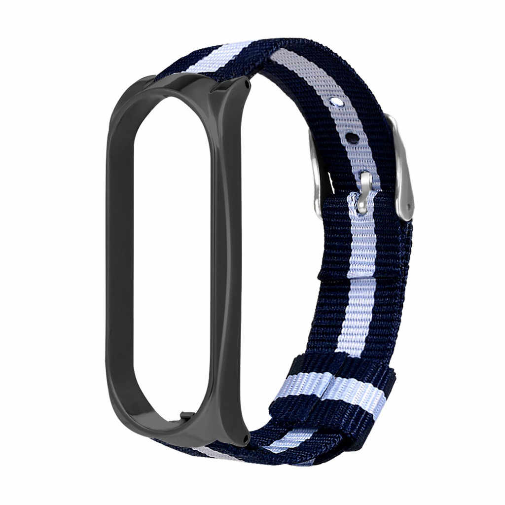 Blu White Stripes Fine Navy Tessuto di Nylon Wristband Delle Donne Della Ragazza Per Xiao mi mi fascia 3 Con quadrante In Metallo Telaio accessori Per orologi