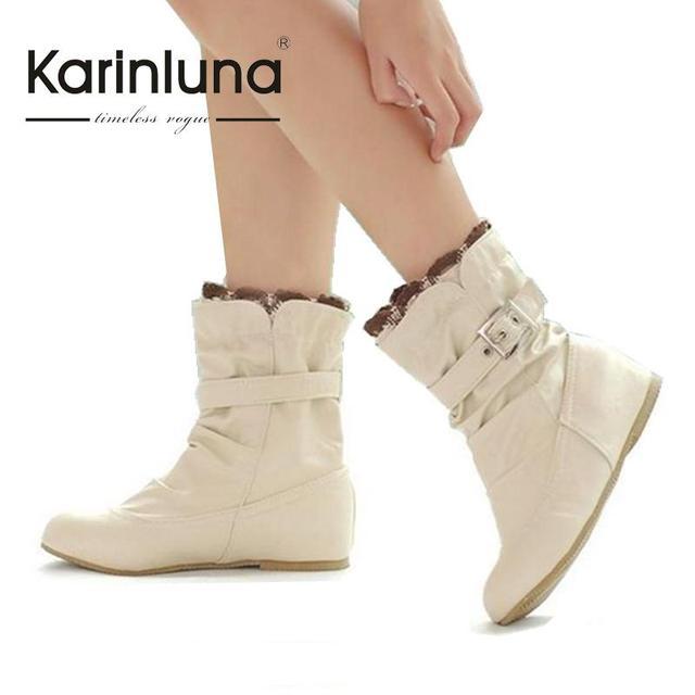 Cuña oculta zapatos Tamaño Grande 34-43 Mediados de tacones botas de primavera para las mujeres Laides dulce Colorida con Volantes y Hebilla JAB132