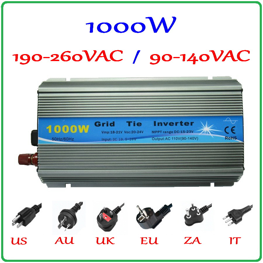1000W MPPT Grid Tie Inverter 10.5-28VDC to AC 190-260V or 90-140V pure sine wave output solar wind power on grid inverter