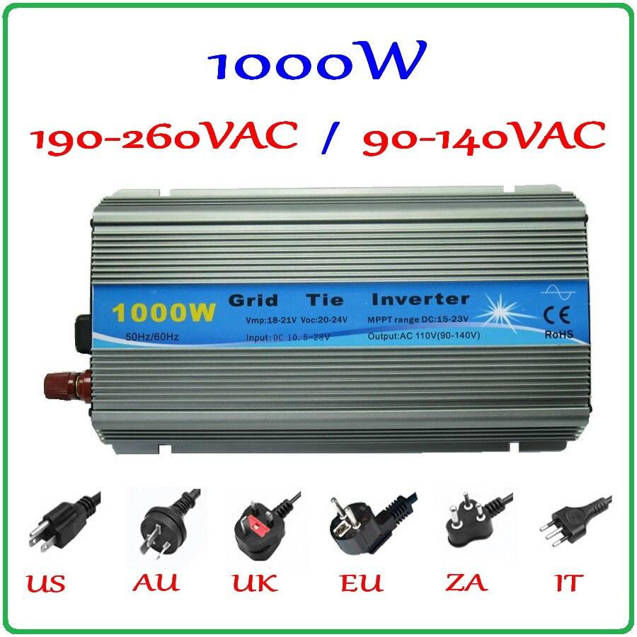 1000W MPPT Grid Tie Inverter 10.5-28VDC to AC 190-260V or 90-140V pure sine wave output solar wind power on grid inverter