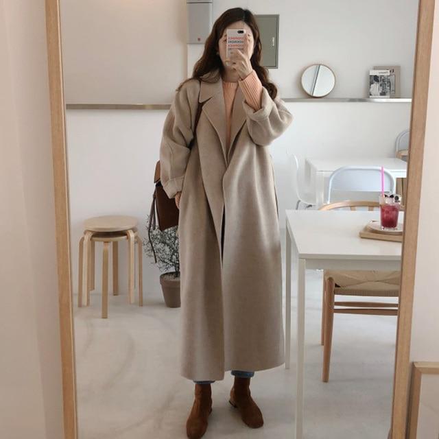 Women Korean Winter Long Overcoat Outwear Coat Loose Plus Size Cardigans Long Sleeve Manteau Femme Hiver Elegant 5