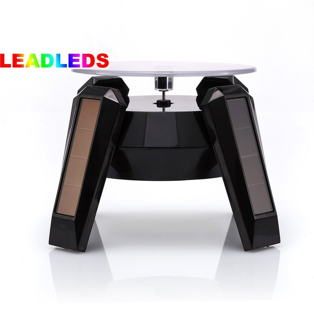 Black Solar Powered Jewelry Watch Black Solar Rotating Display Stand Turn Table LED Light