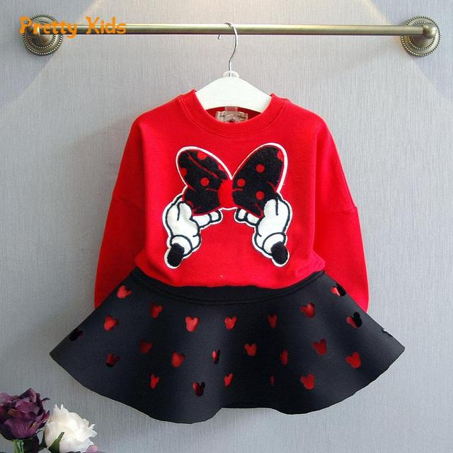 Girls Clothes Winter Brand Girls Clothing Sets Kids Clothes Cartoon Children Clothing Mouse Pullovers+Skirt clothing set