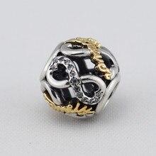Ronda de oro de la familia cz bolas de piedra 925 joyería de plata esterlina adapta pandora charms pulsera de cadena de la serpiente mujeres diy joyería
