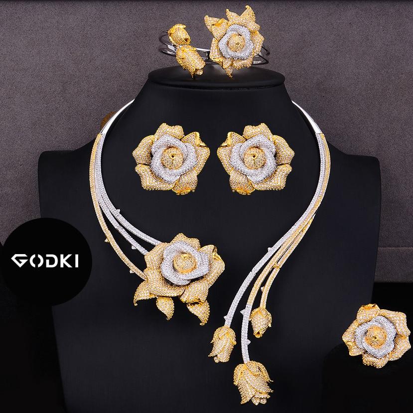 GODKI Trendy Luxury 4PCS Flower Nigeria Statement Jewelry Sets For Women Wedding Full Cubic Zircon Dubai