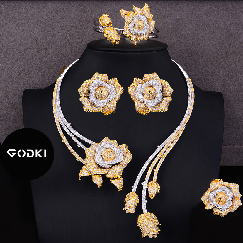 GODKI Trendy luksusowe 4 sztuk kwiat nigerii oświadczenie zestawy biżuterii dla kobiet ślubna pełna Cubic cyrkon Dubai zestaw biżuterii ślubnej 2019 w Zestawy biżuterii od Biżuteria i akcesoria na  Grupa 1