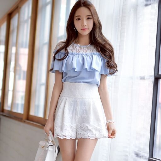 Original New 2016 Brand Short High Waist Straight Slim Elegant Casual Solid Color Summer White Lace Shorts Women Wholesale