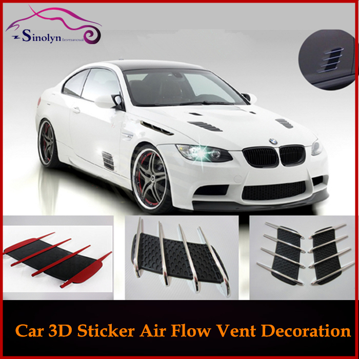 New 2pcs Car Styling Exterior Accessories Universal Diy 3d Car Air Flow Vent Fender Side Door