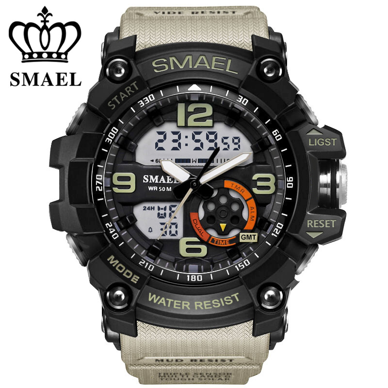 SMAEL Analog-Digital Watch men sports 50M Professional Waterproof Quartz large dial hours military wristwatches 2018 fashion
