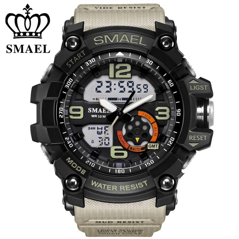 SMAEL Analogique-Numérique Montre hommes sport 50 M Professionnel Étanche Quartz grand cadran heures montres militaires 2018 de mode