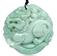 Wonderful Handwork Natural Grade A Green Jadeite Carved Kylin Lucky Amulet Pendant + Free Necklace + Certificate Fine Jewelry