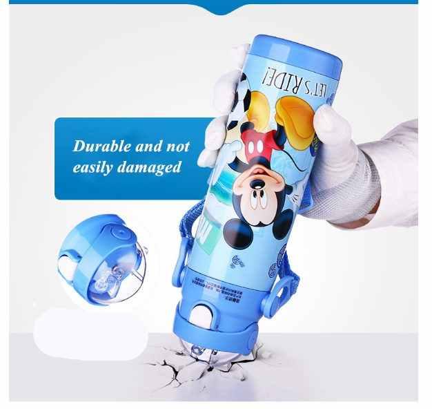 Disney เด็ก Thermos Feeding ถ้วยฟางสแตนเลสทนทานขวดน้ำขวดสูญญากาศคู่ใช้กาต้มน้ำสำหรับเด็ก