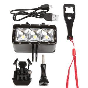Image 5 - עמיד למים צלילה LED אור וידאו זרקור 40m מתחת למים למלא מנורת Dimmable הר אבזם בורג רצועת ערכת עבור GoPro Hero 5 6