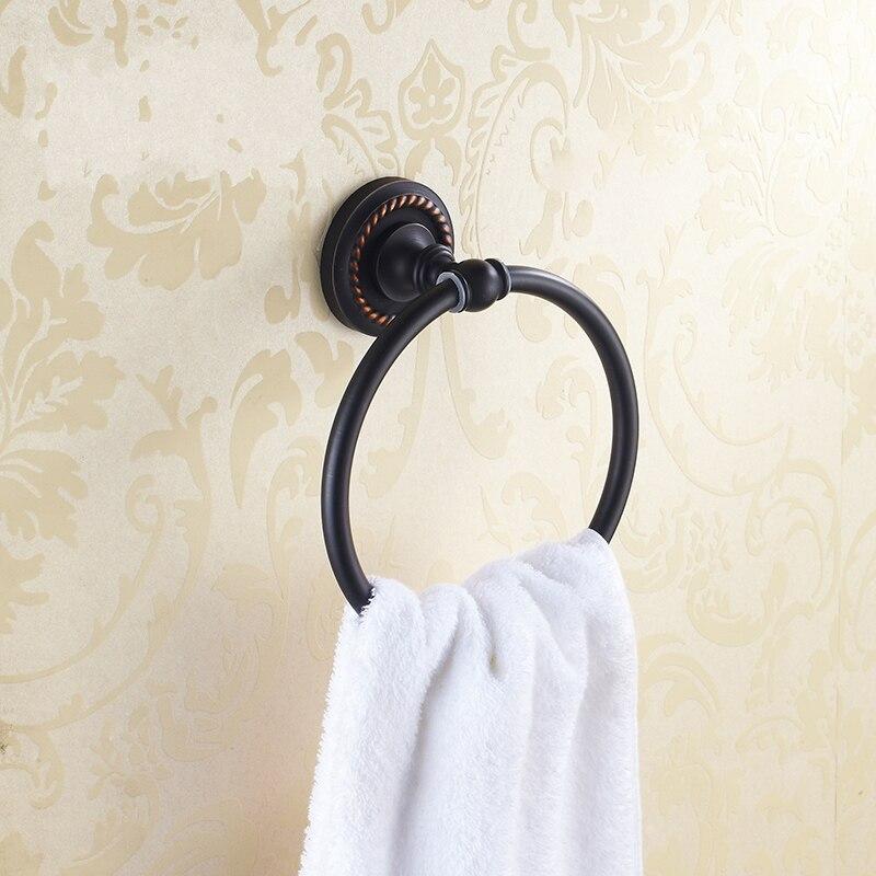 ФОТО NEW Bathroom Wall Mounted Oil Rubbed Bronze Brass Towel Ring Towel Rack Holder Towel Bar