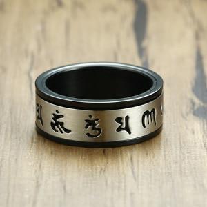 Мантра медитация спиннинг кольцо для мужчин из нержавеющей стали тибетский буддийский шесть истинный слог мантра Ом Мани Падме Хум ювелирн...