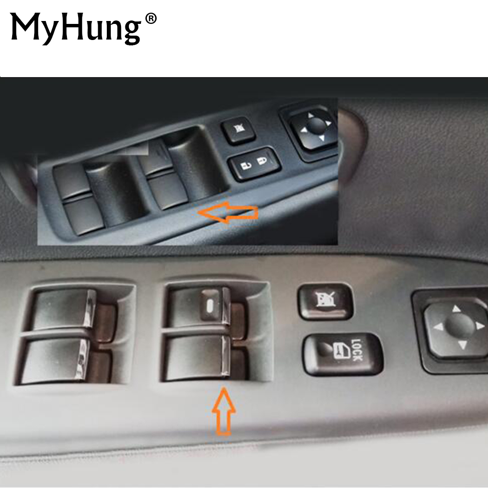 7pcs set Stainless Steel Lifter Window Button Trim Sequins For <font><b>Mitsubishi</b></font> Outlander 2007 To <font><b>2012</b></font> <font><b>Pajero</b></font> Sport ASX 2013 2014 2015 image