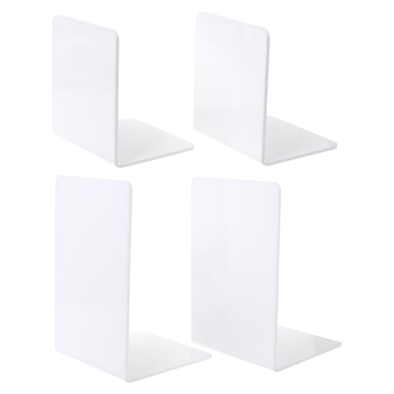 2Pcs White Acrylic Bookends L-shaped Desk Organizer Desktop Book Holder School Stationery Office Accessories