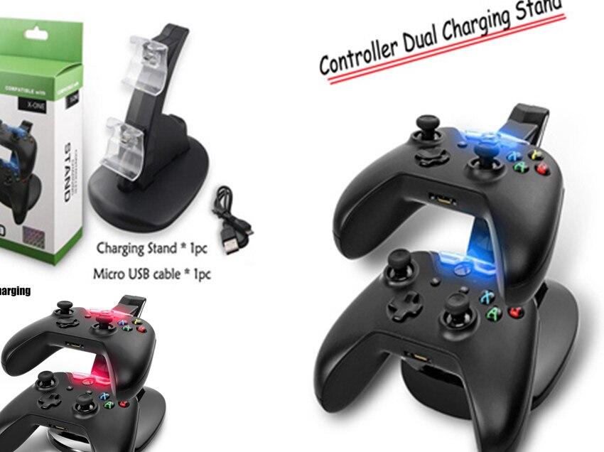 Distinctes LED Double USB De Charge Rapide Adaptateur De Charge Stand Dock Station Chargeur pour Dual Xbox Un XBOXONE Jeu Contrôleur de Jeu