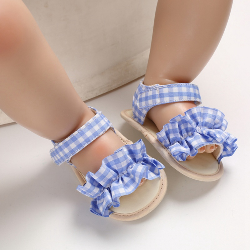 Baby Shoes Summer Baby Girls Breathable Plaid Print Anti-Slip Shoes Sandals Toddler Soft Soled First Walkers