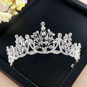 Vintage tocado de novia corona de princesa de lujo, accesorios para el cabello de boda de diamantes de imitación de cristal novia diademas las mujeres Accesorios
